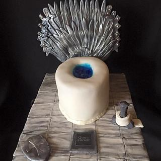 Sitting on his Game of Thrones, throne! :D