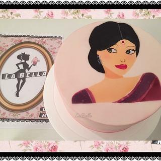 Indian lady airbrushed cake