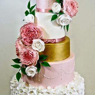 Peony and Rose Wedding Cake