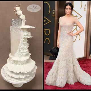 Fashion inspired cake Reem Acra worn by Jenna Tatum Oscars 2014