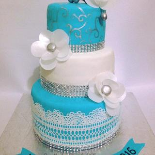 White and blue cake
