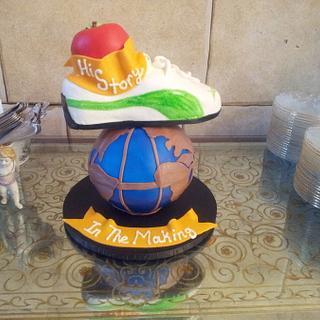 World and Running Shoe Cake