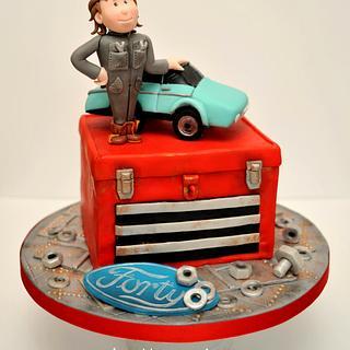 Car Mechanic 40th Birthday cake