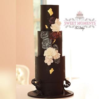 Contemporary Black and hand paint floral patterns with touches of Gold Leaf  - Cake by Sweet Moments The Boutique