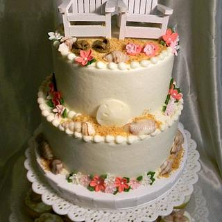 Beach Wedding Cake With Pink Accents