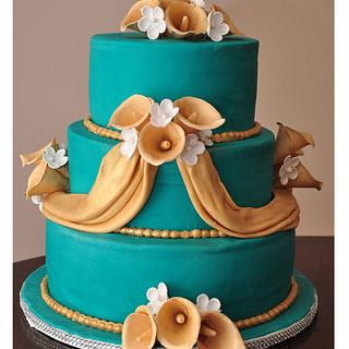 Wedding cake with calla lillies - Cake by Spring Bloom Cakes