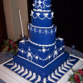 Wedgwood blue wedding cake
