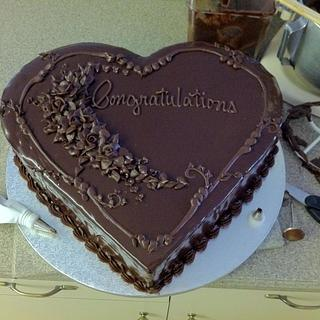 Chocolate Ganache Heart Shaped Cake
