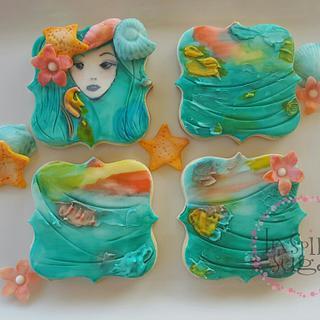 mermaid themed cookies