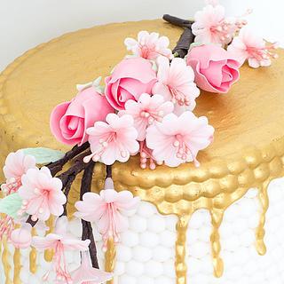 Double Barrel Gold Drip & White Pearl Cake