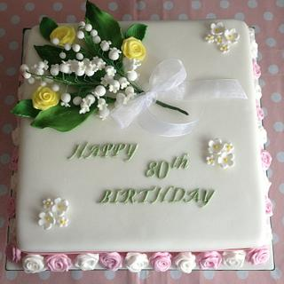 80th birthday Lily of the Valley cake