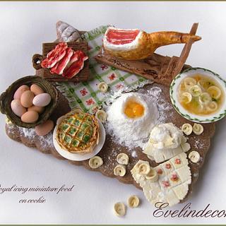 Italian miniature food on a cookie