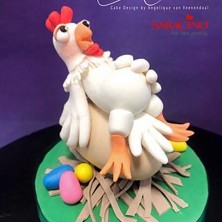 Chicken preparing for easter,...caketopper