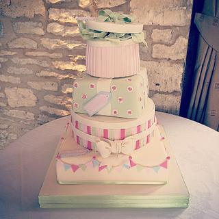 Rosebud and Bunting Parcel Wedding cake