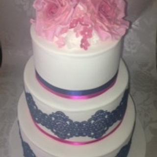 Navy & Pink Lace Wedding Cake