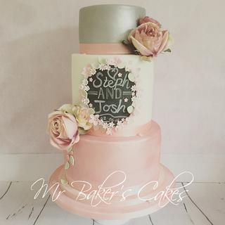 Chalkboard and Roses Wedding Cake
