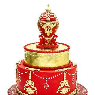 Goldy Red Faberge Egg Cake