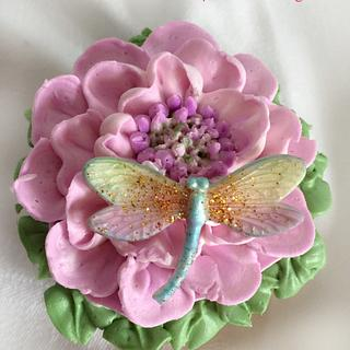 Buttercream flowers  with dargonfly .