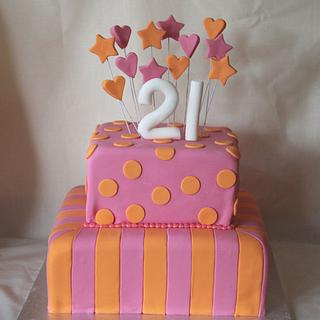 Orange and Pink tiered cake