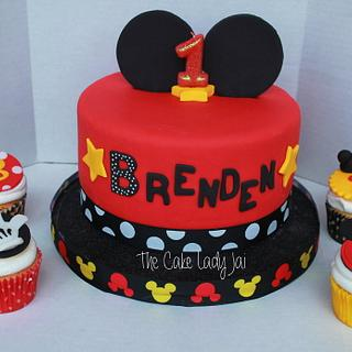 Mickey Mouse Inspired cake and Cupcakes - Cake by Jai Mobley