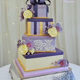 Purple, Lilac and Gold Gift Boxes Wedding Cake