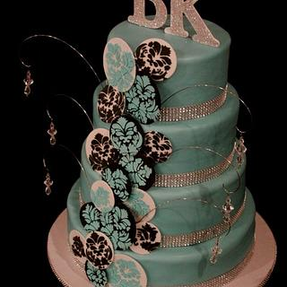 4 tier Damask Birthday cake  - Cake by Jewell Coleman