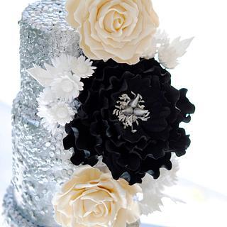 Sequins Blooms Wedding Cake