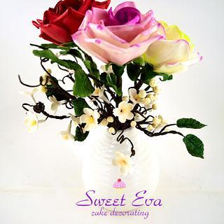 Sugar roses and decoration of sugar