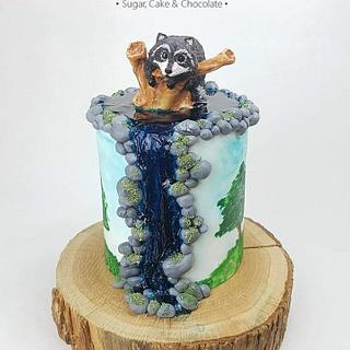 Raccoon Birthday Cake