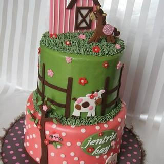 BABY GIRL FARMER CAKE