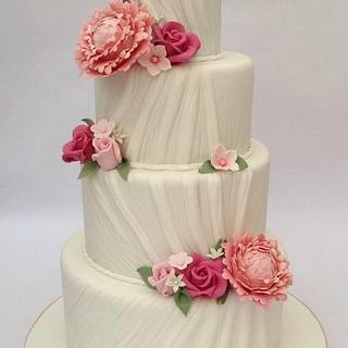 Peony & Rose 4 Tier Ruched Wedding Cake