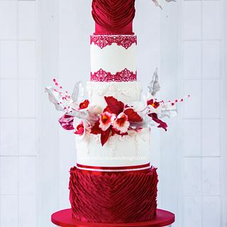 Red passion wedding cake