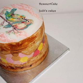 Fault line cake with hand painted birds