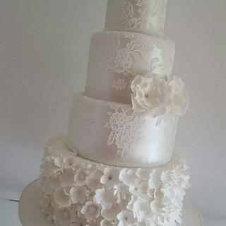 Ruffles, lace & lustre wedding cake