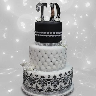 White & Black Tiers with Silver Accents