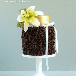 Chocolate Ruffle and Lily Cake