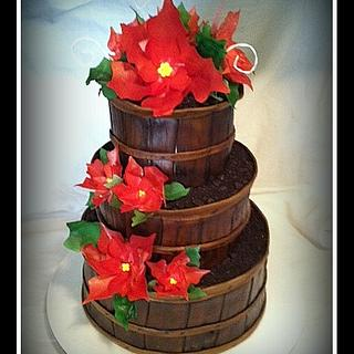 Baskets of Poinsettias Retirement Cake