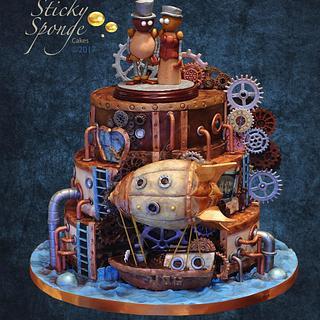 Steampunk wedding cake - Cake by Sticky Sponge Cake Studio