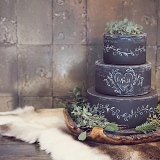 Winter chalkboard cake