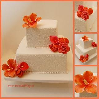 Damask Coral Coloured Engagement Cake