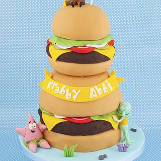 Krabby Patty Tower Spongebob Cake - Cake by Little Cherry