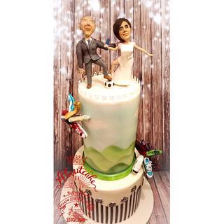 Football theme wedding cake