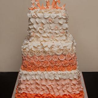 Petals and Rose Fall Wedding Cake