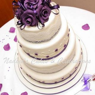 Dark Purple and Ivory Wedding Cake