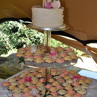 Vintage Pastel Wedding Cupcake Tower & Cake
