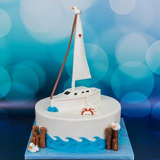 70th Sailing Birthday Cake