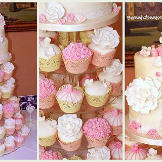 Vintage rose and lace tower