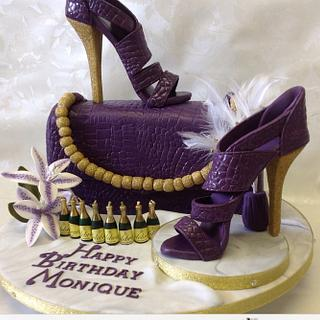 Purple and Gold Glitter Shoe Cake