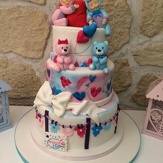 Birth cake for baby twin