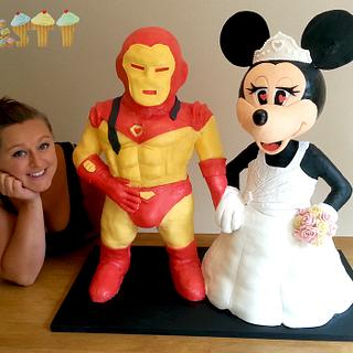 3ft tall 3D Minnie Mouse and Ironman